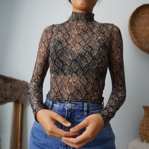 Wild Fable Snake Print Mesh Sheer Turtleneck Top